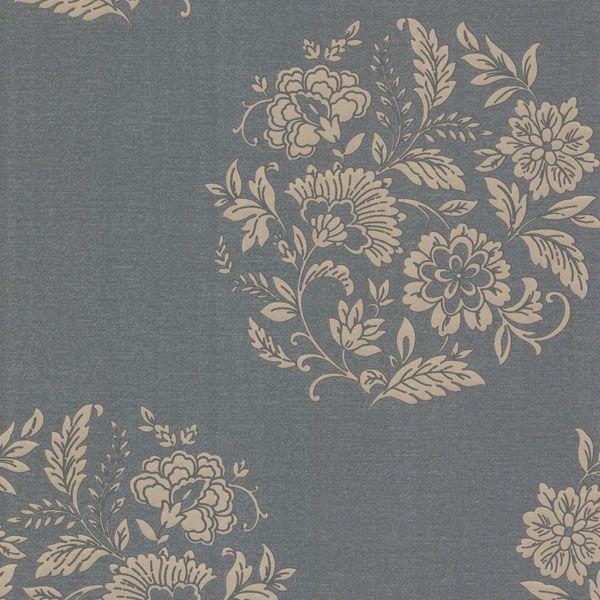 482-DL31070 Silver Floral Motif - Velde - Decorline Wallpaper