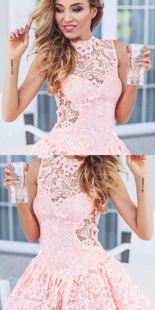 rosa cocktailkleider kurze | mini abendkleider mit spitze