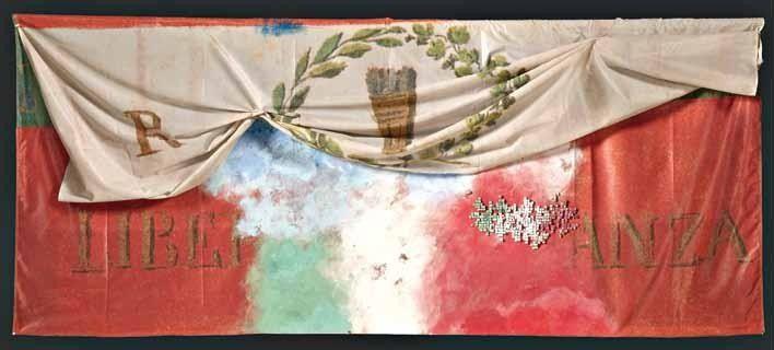 """Franco Guerzoni, """"Sipario"""", tecnica mista su bandiera, cm 150x400, dal catalogo della mostra """"Novanta artisti per una bandiera"""", ©2013 corsiero editore"""