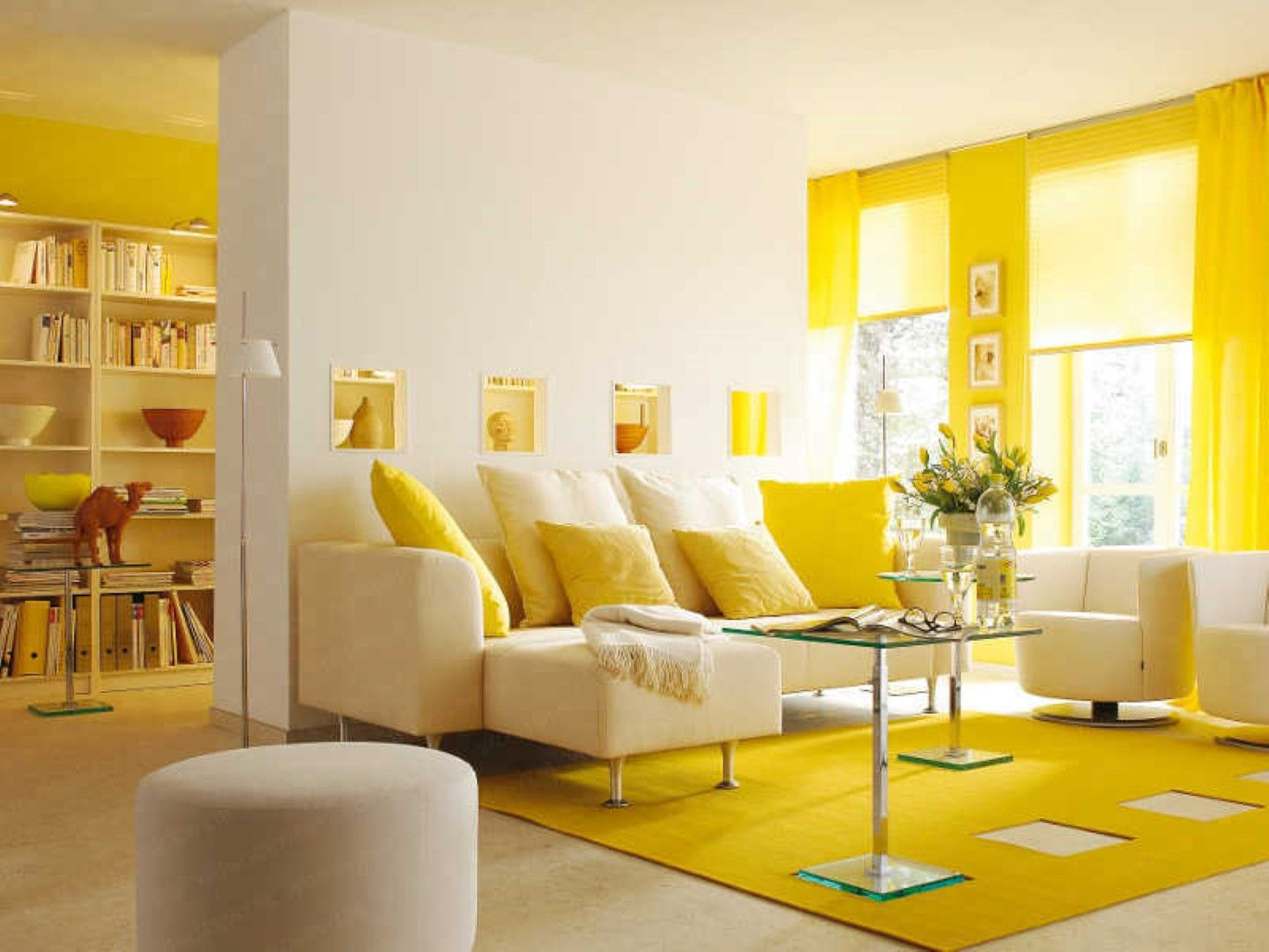 Home design, Soothing Yellow Living Room Window Treatment And Rug ...