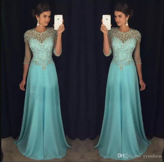 cccf133a445 Chic Blue Evening Wear Dresses Prom 2018 A-Line Sheer Neck Major Beaded 3 4Long  Sleeves Chiffon Formal Party Gowns Celebrity Dress