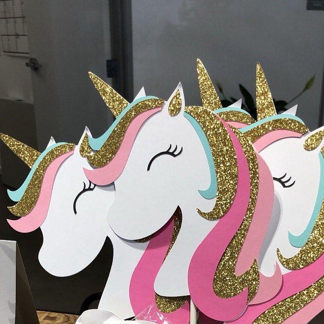 Photo of Topper de pastel de unicornio, bandera de cumpleaños de unicornio, decoraciones de pary de unicornio, fiesta de unicornio, unicornio