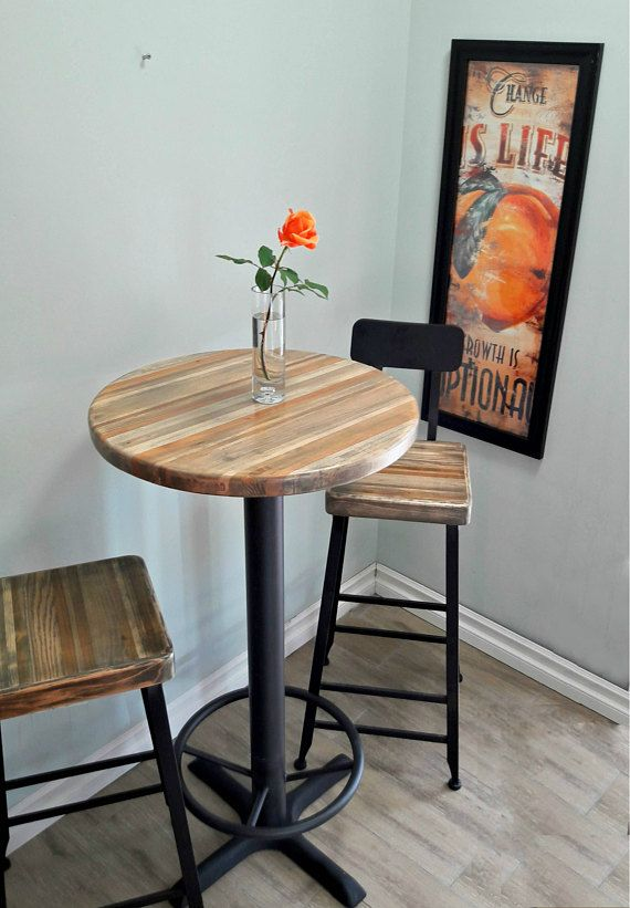 Round Bar Height Pub Table Reclaimed Wood Top Pedestal Base