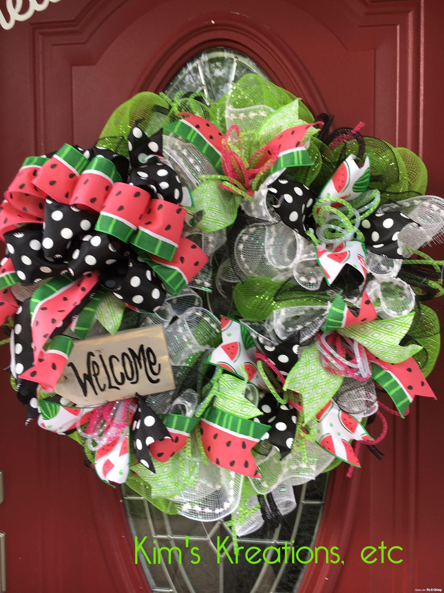 Summer wreath watermelon wreath fun summer wreath welcome summer wreath watermelon wreath fun summer wreath welcome wreath front door summer rubansaba