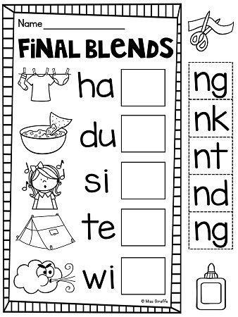 ending blends worksheets and activities the end cut and paste and consonant blends. Black Bedroom Furniture Sets. Home Design Ideas