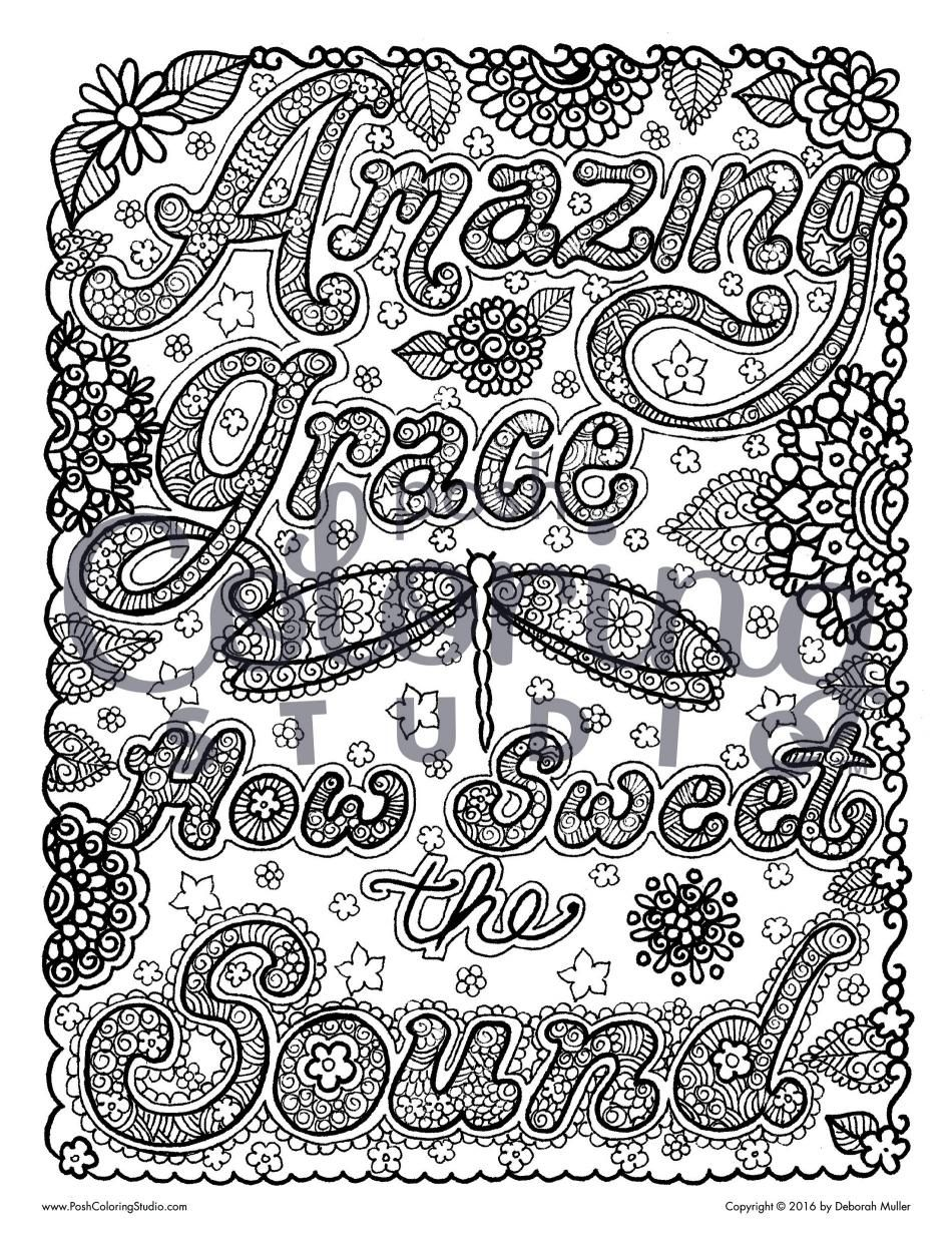 Amazing Grace Coloring Page Posh Coloring Studio Adult