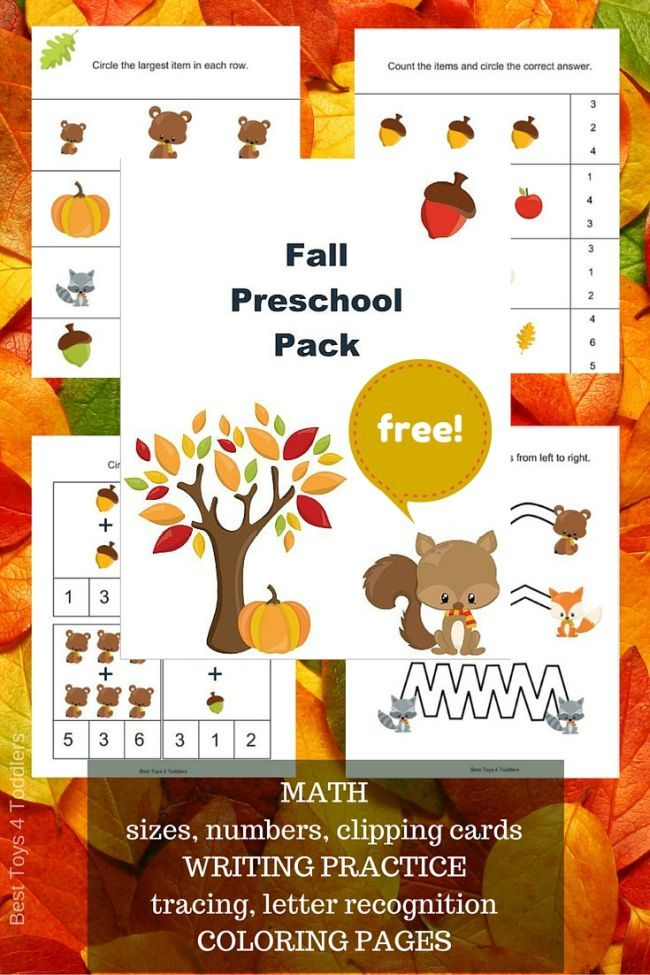 Free Fall Printable Pack for Preschoolers | Fall packing, Count and ...