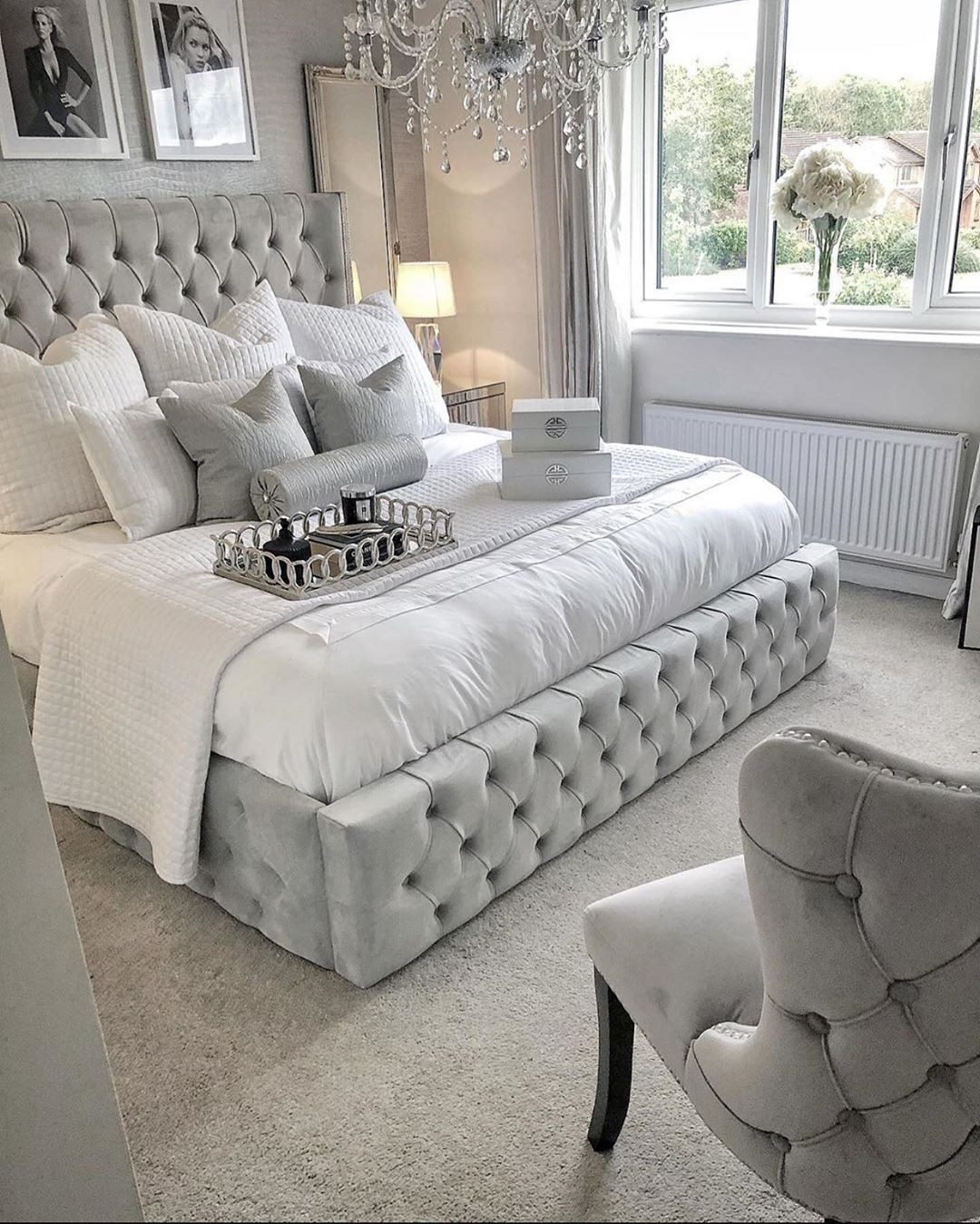 Decor Inspiration By Ty On Instagram Follow Mrstylovesdecor For Glam Decor Ideas And Inspiration Silver Bedroom Decor Bedroom Interior Silver Bedroom