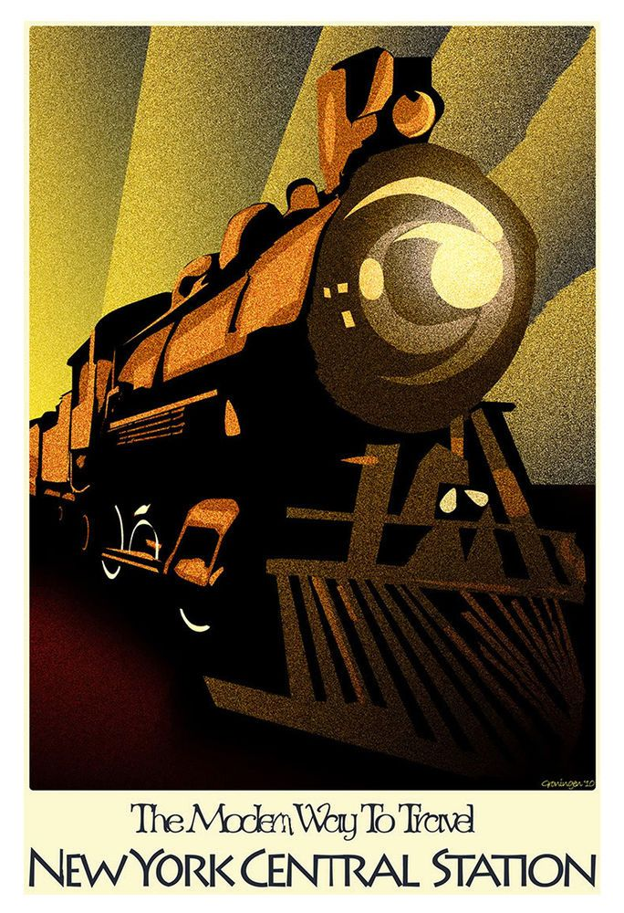 Empire State Express vintage New York Central train travel poster repro 12x18