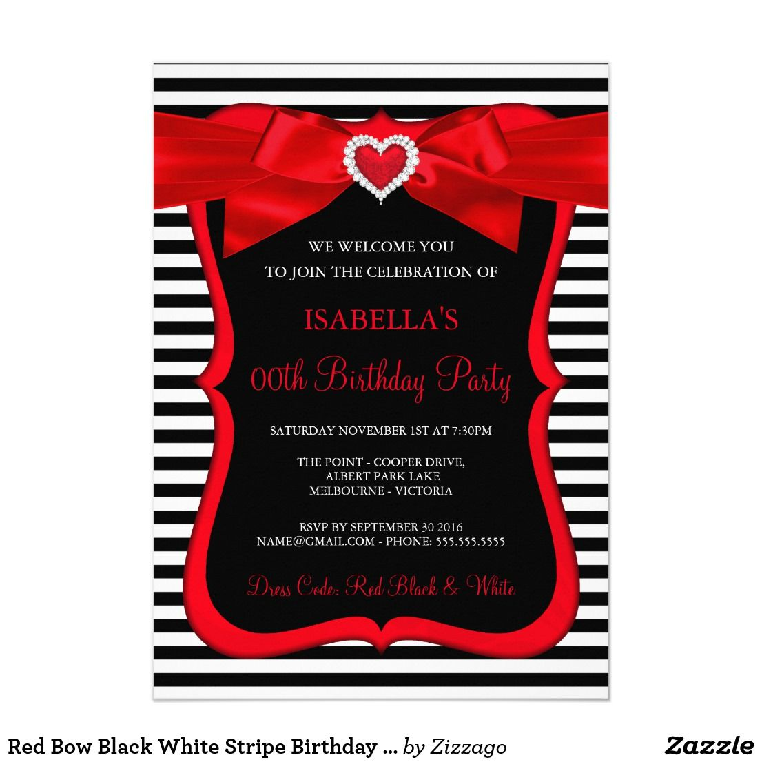Red Bow Black White Stripe Birthday Party Card Heart