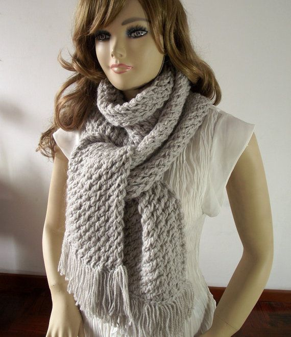 KNITTING SCARF PATTERN Central Park with Fringes Big Scarf for ...