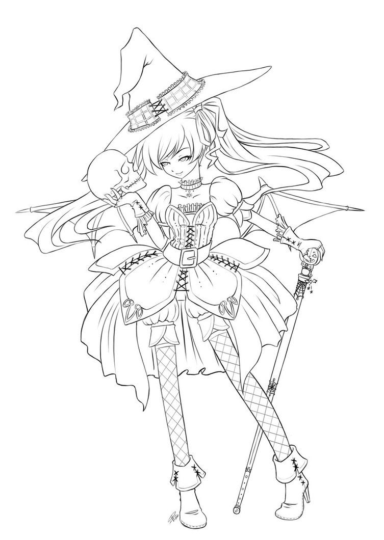 anime halloween coloring pages | anime angel lineart Colouring Pages ...