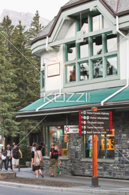 Earls Restaurant In Banff Alberta Street Corner Showing The Abominable Hiker And