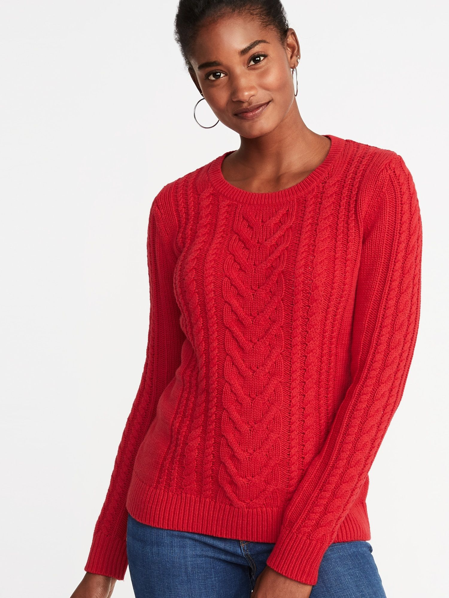 533b6e8782 Cable-Knit Crew-Neck Sweater for Women