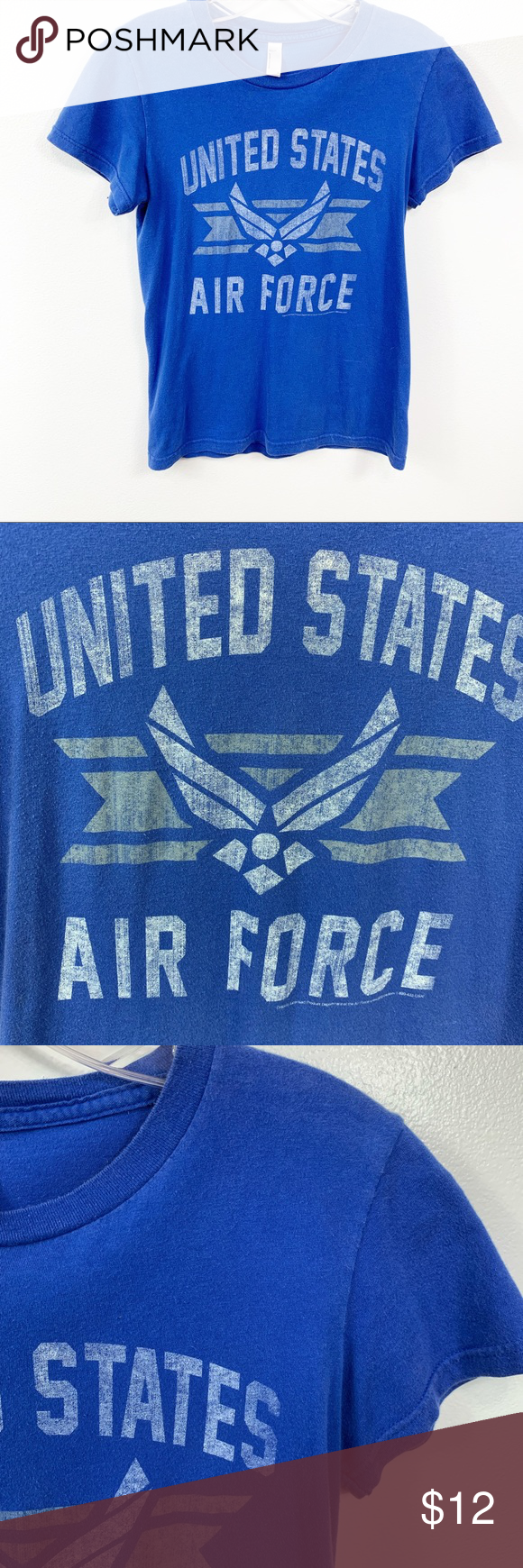 American Apparel United States Air Force Tee Shirt American Apparel Blue And White United States Air Force Graphic Short Sleeve Tee Shirt Size Small  Signs of wear present throughout, loose thread on one arm 06239 American Apparel Tops Tees - Short Sleeve
