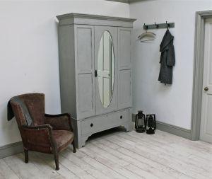 Vintage Distressed Oval Mirror Wardrobe - For Sale | Distressed But Not Forsaken