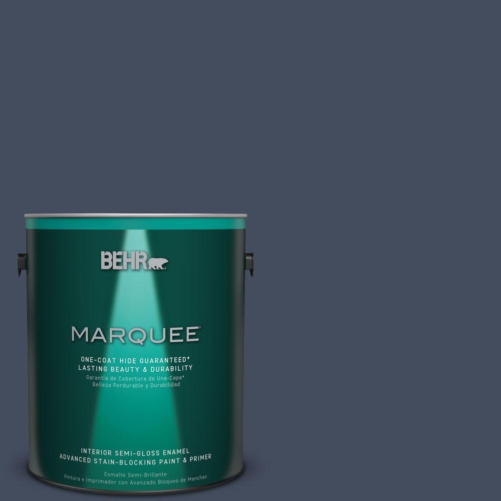 BEHR MARQUEE 1 gal. #S520-7 Night Flight One-Coat Hide Semi-Gloss Enamel Interior Paint