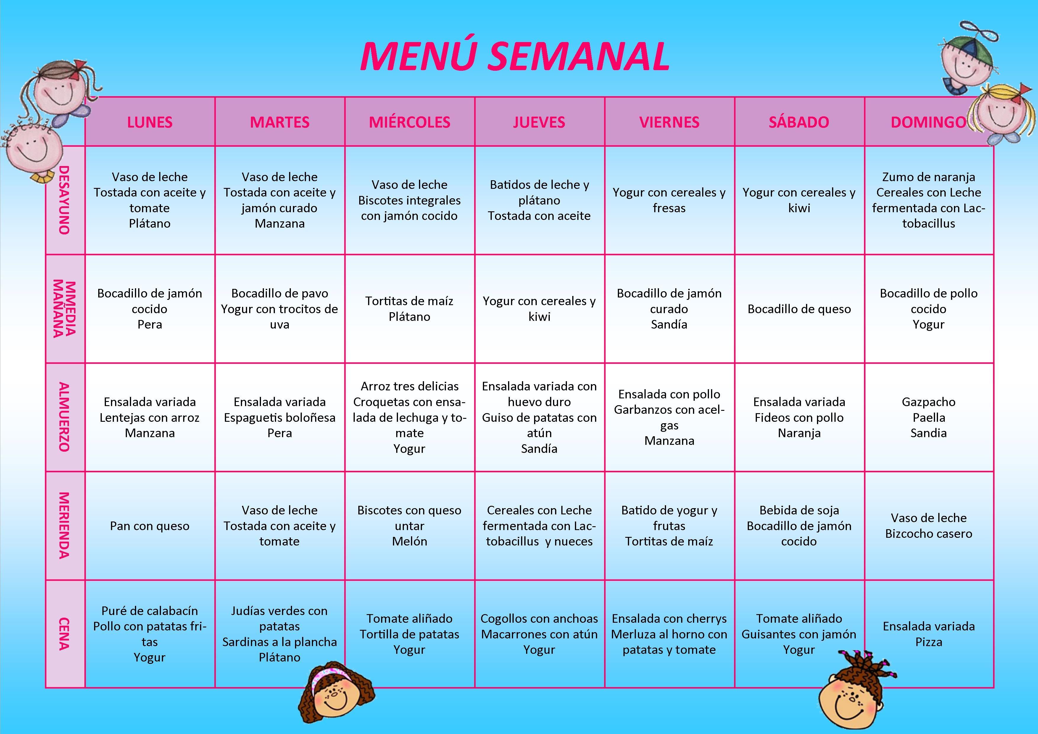 menus semanales niños - Buscar con Google | Comida in 2018 ...