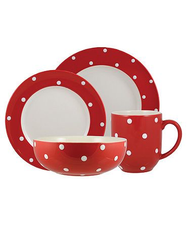 Spode dinnerware in cherry red with white polka dots   All things