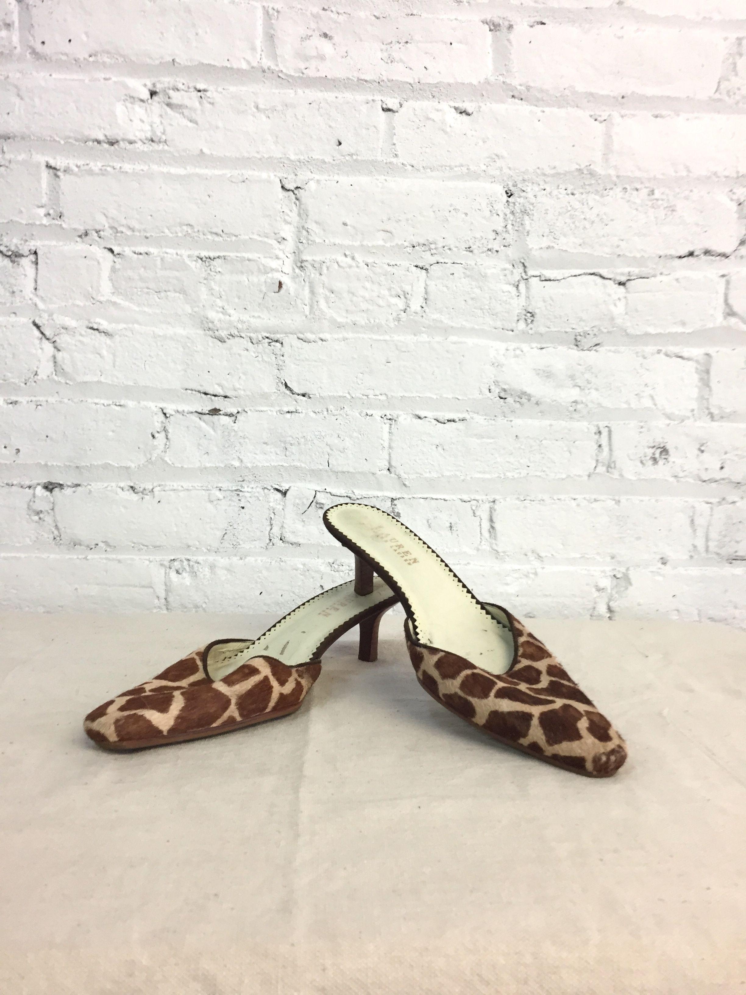 Vintage Ralph Lauren Calf Hair Giraffe Print Pointed Toe Kitten Heel Mules Kitten Heels Heels Pointed Toe