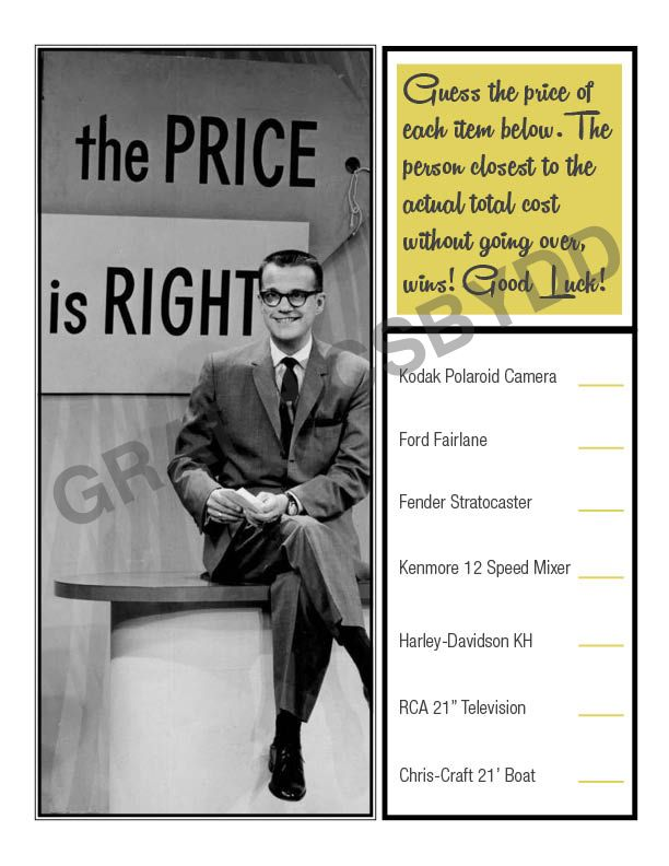 "Vintage ""Price Is Right"" Printable Retro Game  #priceisrightgame #printablegame #vintagepriceisright #etsy"