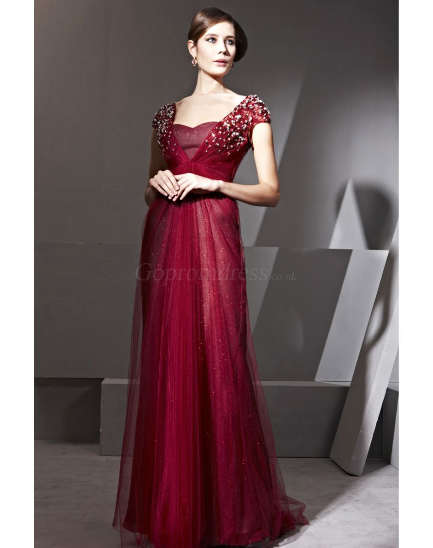 Column Sweetheart Beading Straps Long Red Evening Dress#GOES0825381