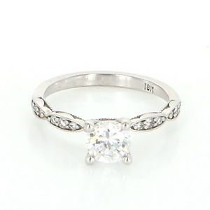 Estate Designer Tacori 18 Karat White Gold Diamond Engagement Ring