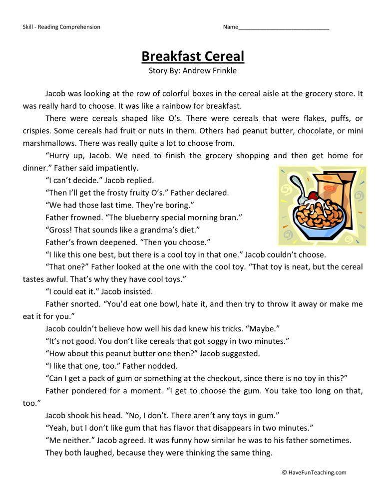 Reading Comprehension Worksheet Breakfast Cereal