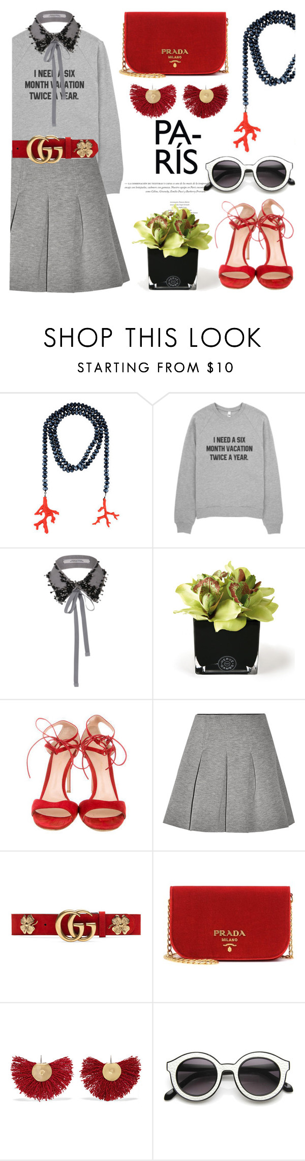 """Six month holidays"" by pensivepeacock ❤ liked on Polyvore featuring Kenneth Jay Lane, Hervé Gambs, Gianvito Rossi, T By Alexander Wang, Gucci, Prada, Katerina Makriyianni and INDIE HAIR"