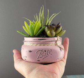 Mason jar succulent decor in antique pink, artificial succulent arrangement, distressed mason jar succulent planter room decor, shabby chic