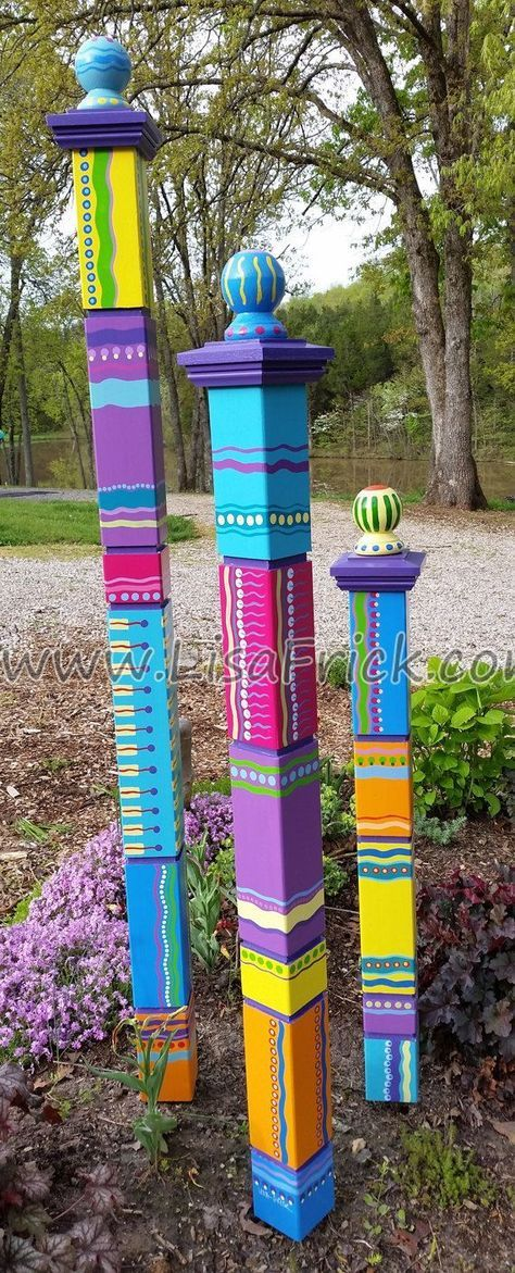 Garden Totems | Hand Painted Garden Art | Garden Sculpture | Sculptural Totems | Yard Art | Colorful Totems | Lawn Art