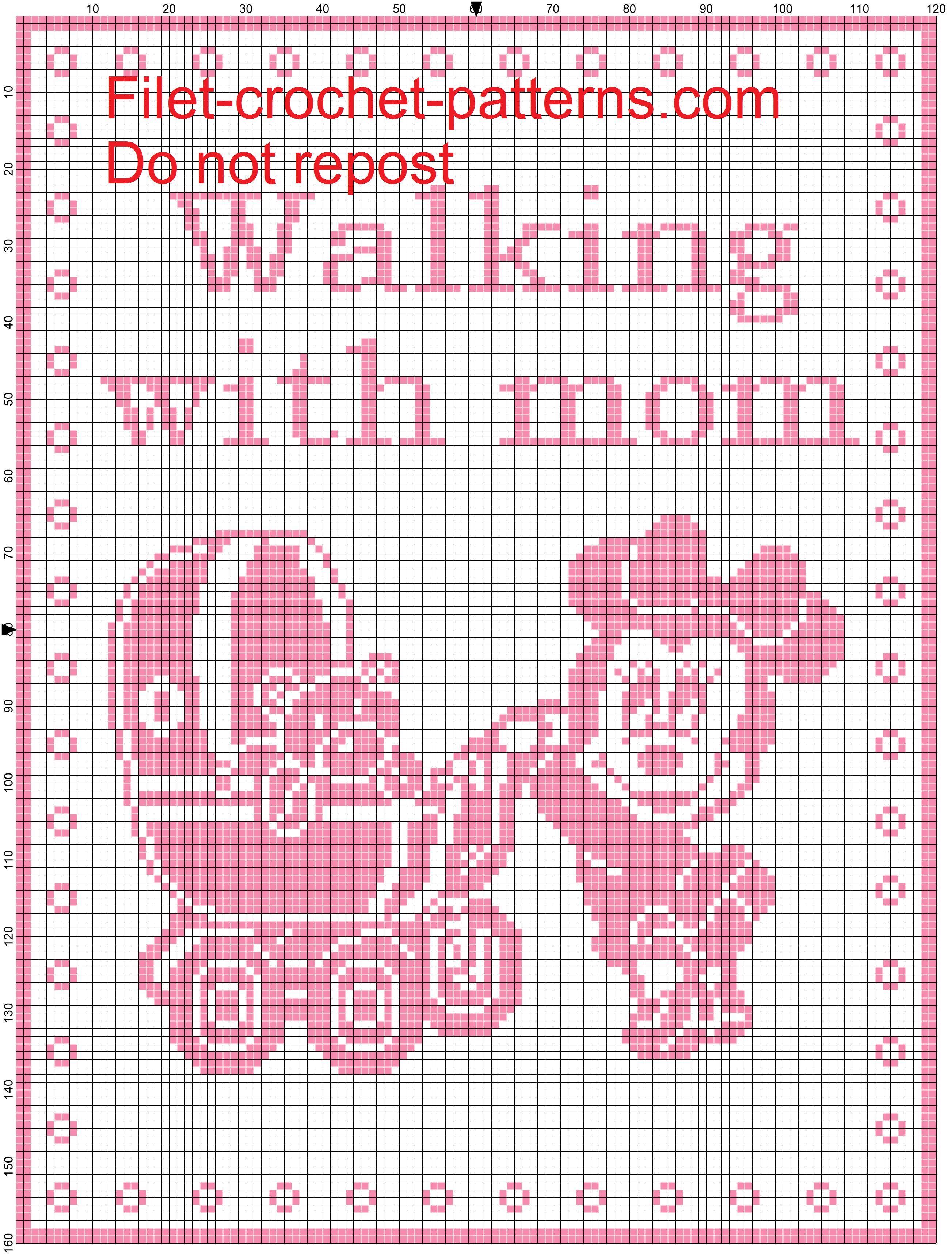 Baby blanket minnie Walking with mom filet crochet pattern   Mickey ...
