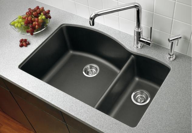 Blanco 440199 Diamond 1 1 2 Bowl Drop In Silgranit Ii Kitchen Sink Anthracite Granite Kitchen Sinks Double Bowl Kitchen Sink Silgranit Sink