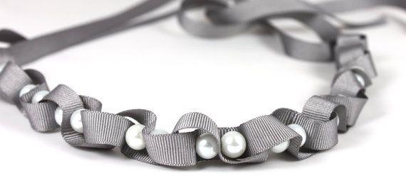 Petite gris torcido cinta y collar de perlas por maneggi en Etsy, $27.00