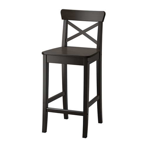 Ingolf Bar Stool With Backrest Brown Black Ikea Ikea Barstools Bar Stools Ikea Bar