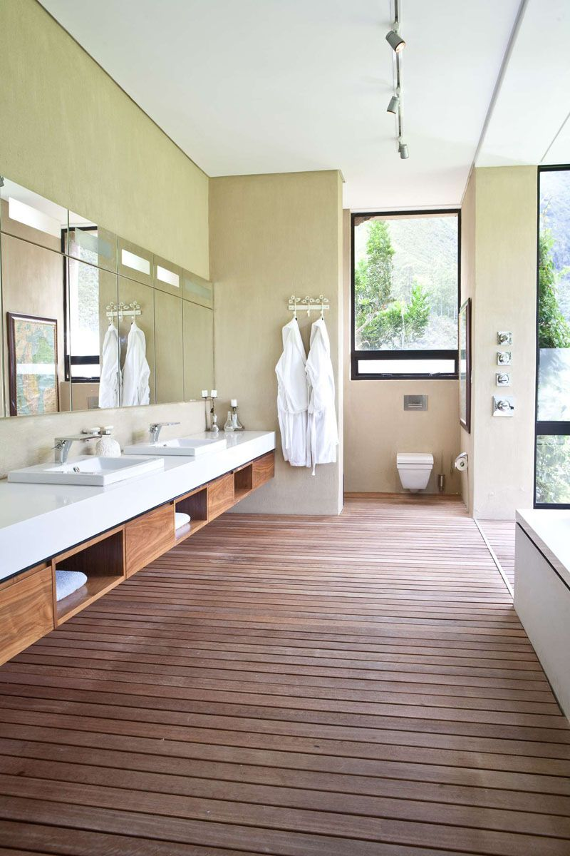 15 Examples Of Bathroom Vanities That Have Open Shelving // This spa ...