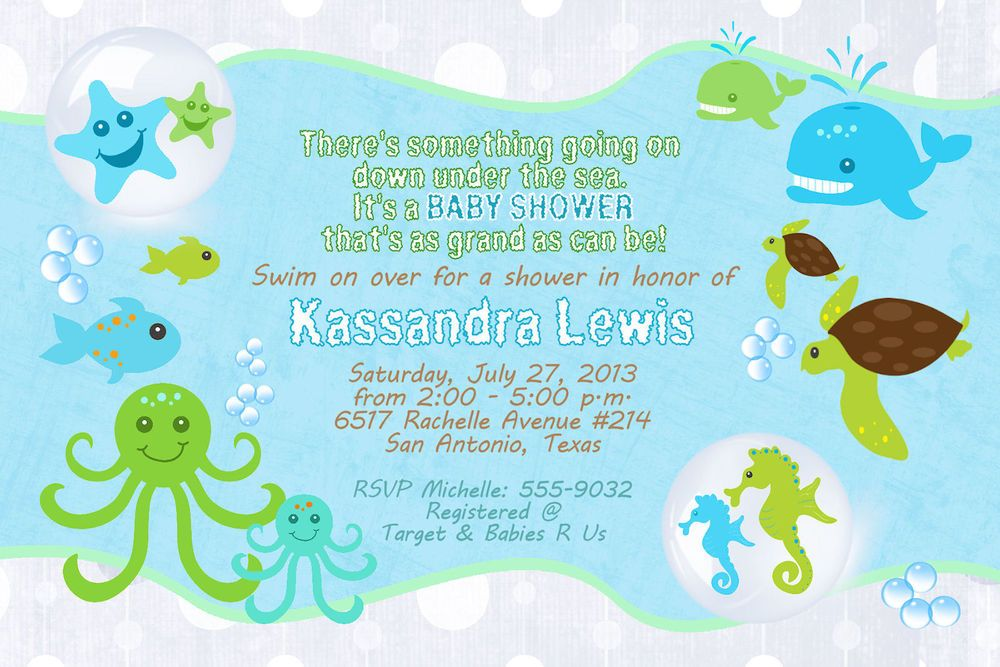 Baby Shower Invitations Under The Sea Ocean Turtle Seahorse Starfish ...