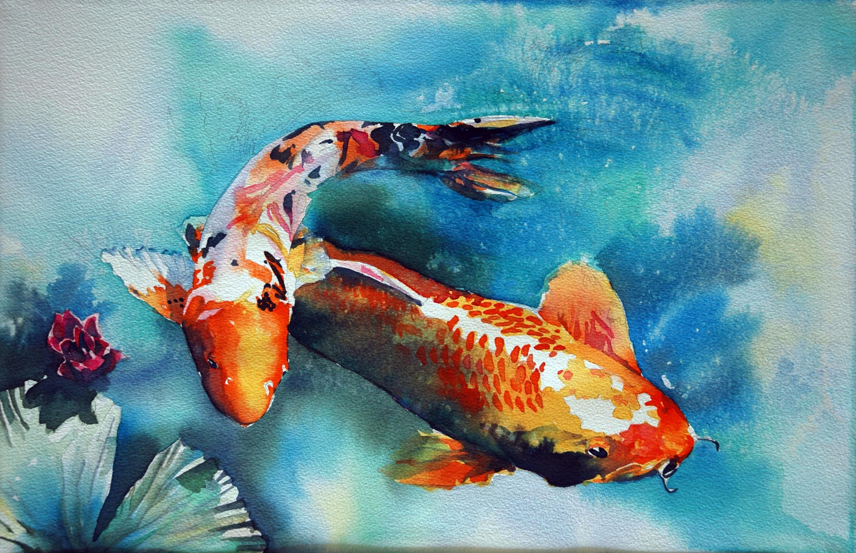 Batik style watercolor technique how to paint a large for Japanese koi carp paintings