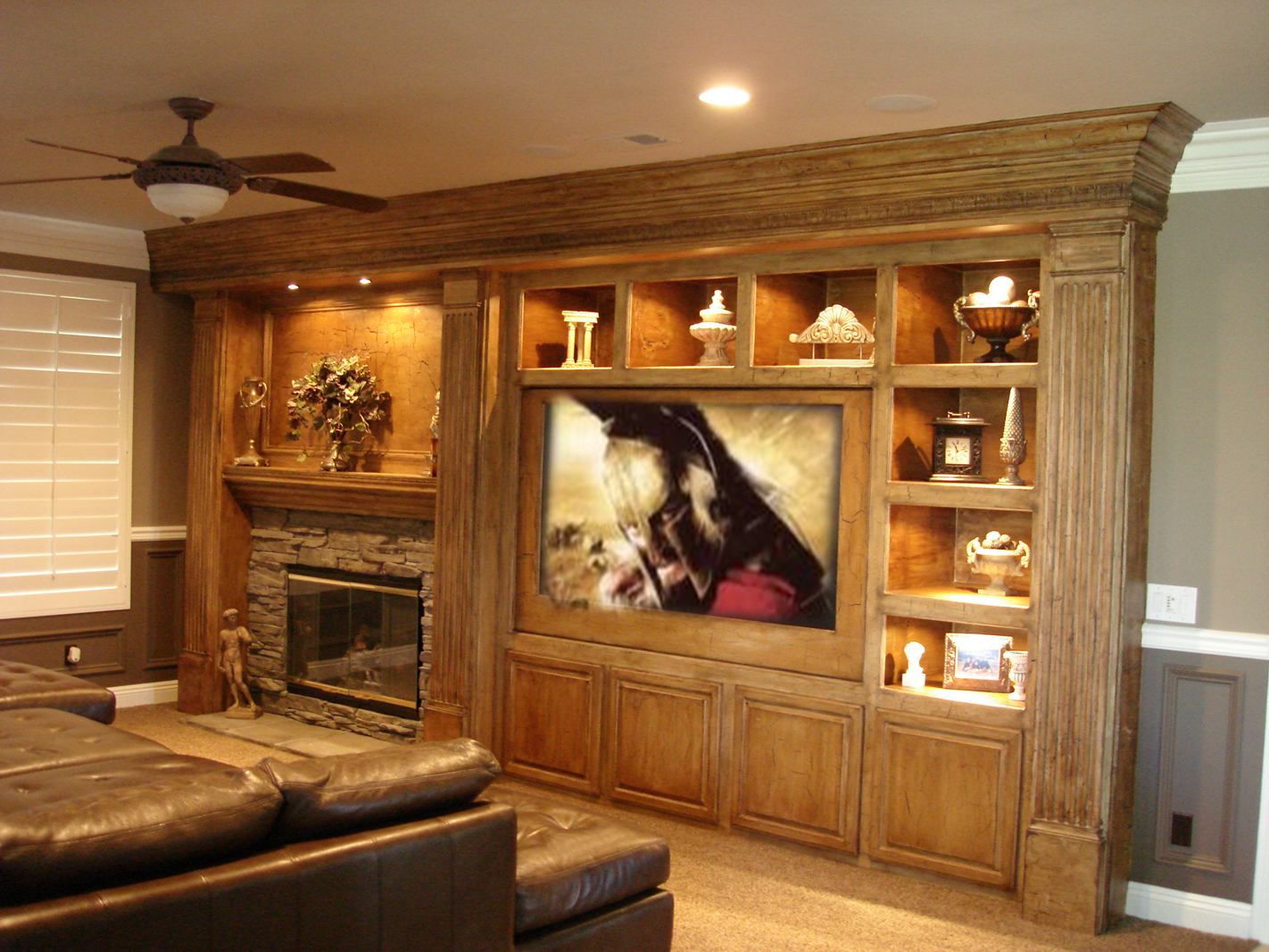 custom entertainment centers with fireplace