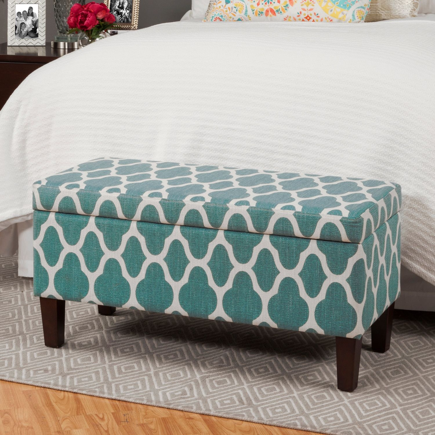 Large Teal Blue Decorative Storage Ottoman Products