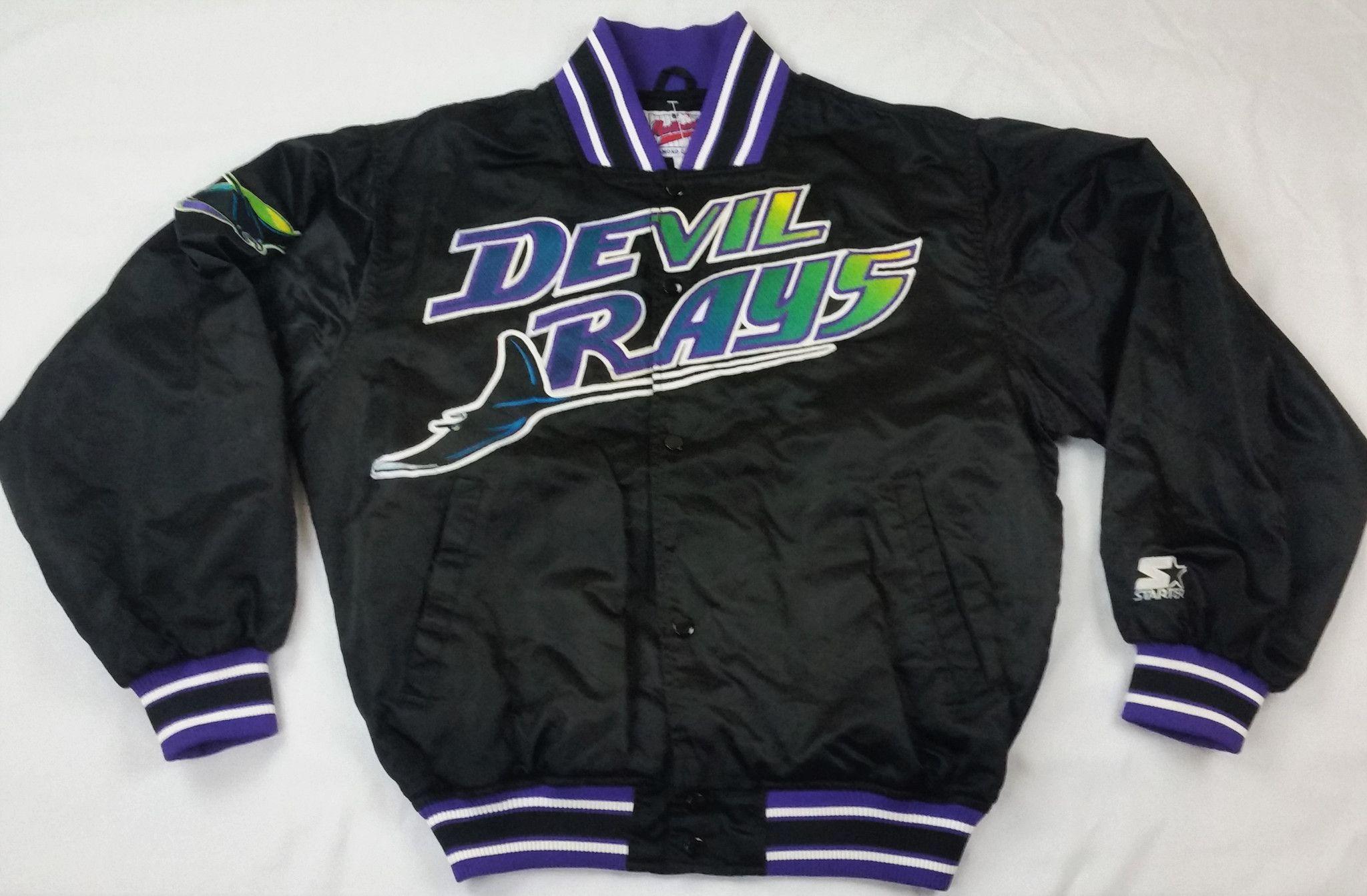 ab384062 ... T-Shirt - Heathered Purple Tampa Bay Devil Rays Starter Jacket Vintage  MLB Rare 90s Coat Pullover Mens M MLB Starter Tampa Bay Rays Jersey ...
