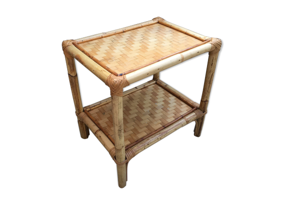 table de chevet osier vintage