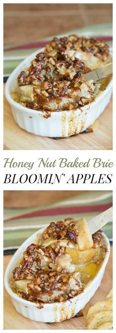 """Honey Nut Baked Brie Bloomin' Apples - melty Brie cheese oozing between """"petals"""" of fruit make this semi-copycat recipe and irresistible appetizer! 