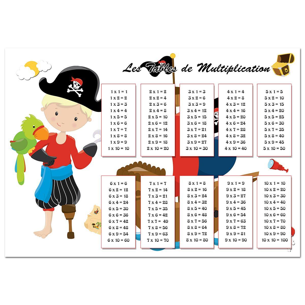 Set de table tables de multiplication pirate gar on - Table de multiplication a imprimer ...