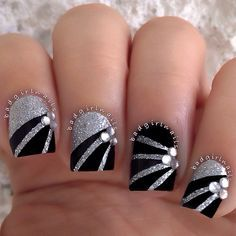 Badgirlnails nail nails nailart nail art pinterest nail stunning black silver nail art with clear crystal rhinestones exquisite prinsesfo Gallery
