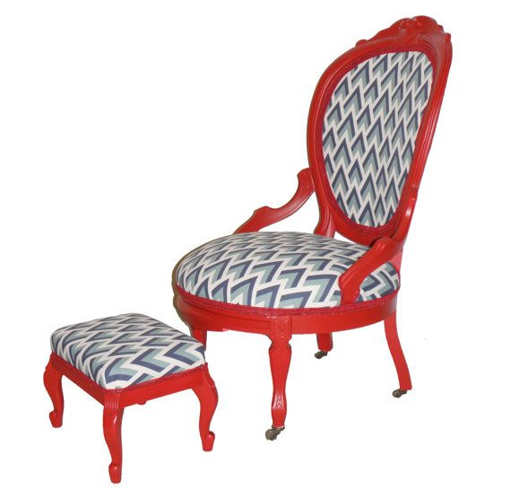 Refurbished Vintage Red Painted Accent Chair And Stool Blue