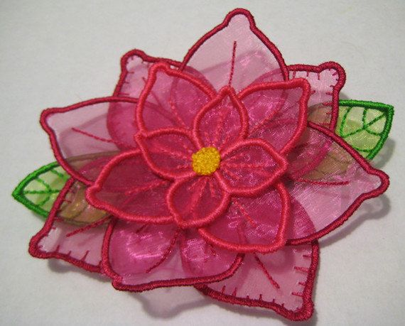Free standling applique 3d flower project #387 machine embroidery