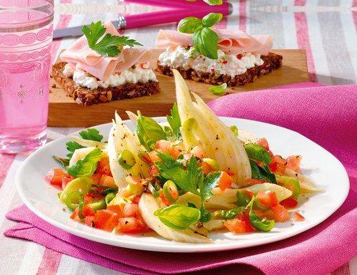 Kräutersalat mit Schinken-Toast - Diätrezepte