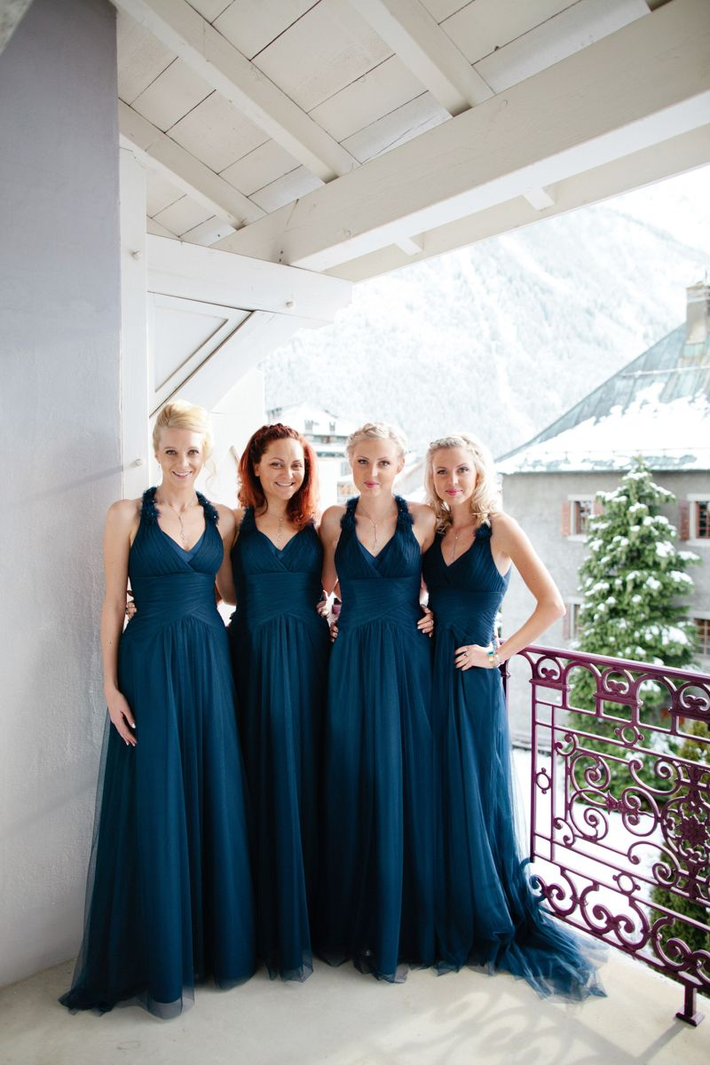 A Snowy Winter Wedding With Jenny Packham Muscari Dress And Navy Bridesmaid Dresses White Rose Bouquet In Chamonix France Photographed By Helen