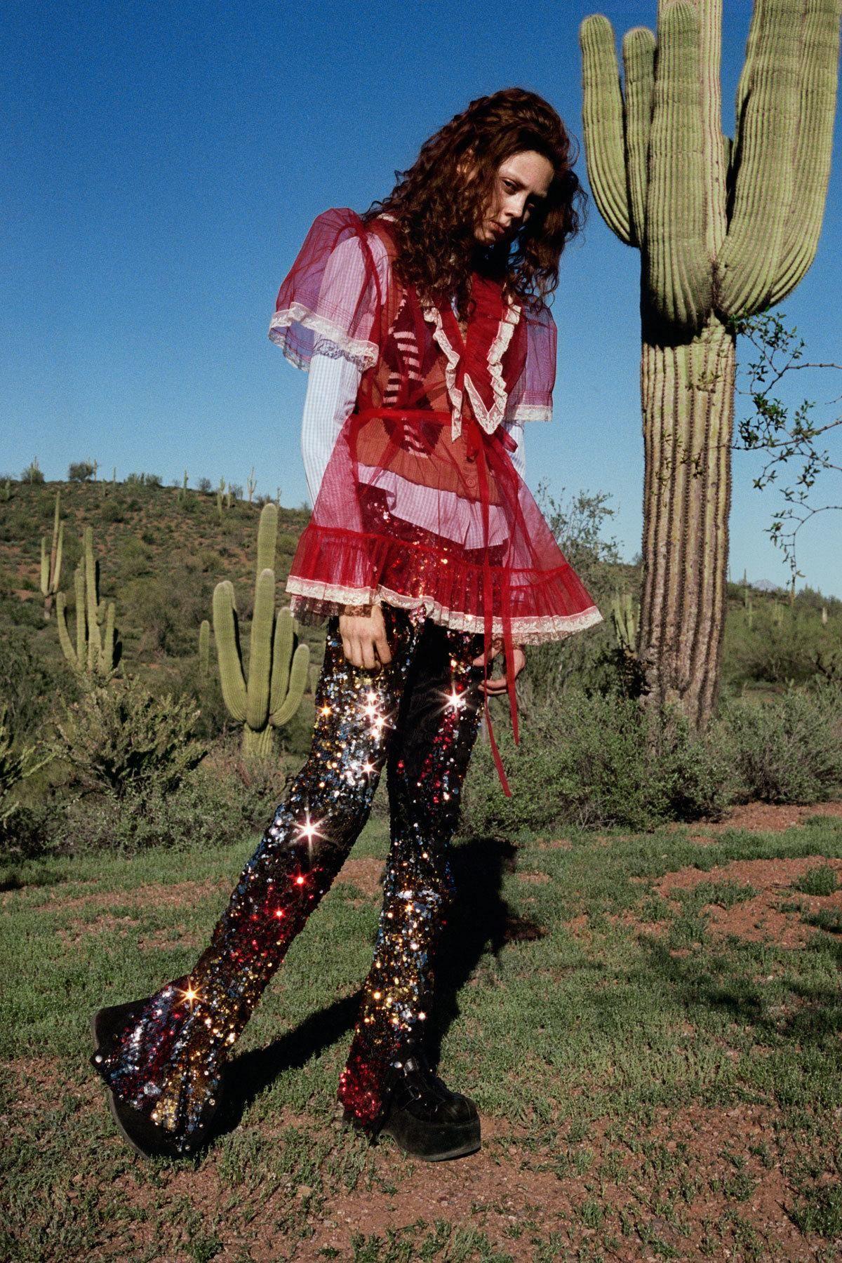 Natalie westling in miu miu dress u pants the costume studio shoes